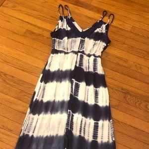Flying Tomato Navy and White Tie-Dye Maxi Dress M